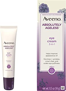 Aveeno Absolutely Ageless 3-in-1 Anti-Wrinkle Eye Cream for Fine Lines & Wrinkles, Crows Feet, & Under-Eye Puffiness, Anti...