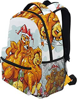 KVMV Christmas Roasted Turkey Buddies Celebration Characters Xmas Holiday Theme Lightweight School Backpack Students College Bag Travel Hiking Camping Bags