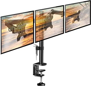 HUANUO Soporte de Monitor con Triple Brazo - Soporte de Monitor en Escritorio de Articulación con 3 Brazos Ajustable - Cada Brazo Sostiene 10kg - para Pantallas LCD de Ordenador de hasta 24
