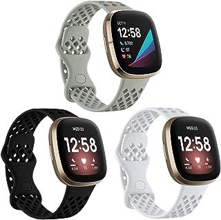 Ouwegaga Bandje Compatibel met Fitbit Versa 3 Bandje/Fitbit Sense Bandje, Siliconen Sportbandje Vervangende Bandje Compati...