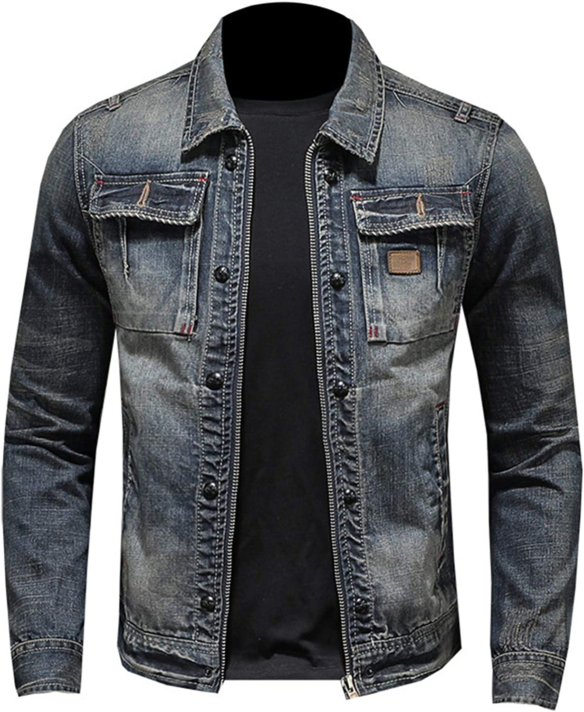 Mens Denim Jackets Vintage Cowboy Cargo Fit Sleev Max 56% OFF Max 81% OFF Long Slim Coat