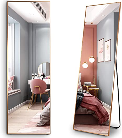 Amazon Com Lvsomt Full Length Floor Mirror Free Standing Body Mirror Wall Mounted Hanging Mirror Large Dressing Mirror Leaning Against Wall Mirror Big Mirror For Bedroom Living Room Locker Room 63 X19 Kitchen