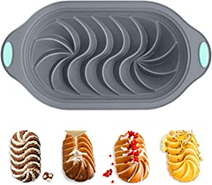 Silicone Bread Loaf Pan with Swirl Design, Chicrinum Food Grade Non-Stick Silicone Baking Mold for Homemade Bread, Cake, Metal Reinforced Frame Sturdy, BPA Free, Dishwasher Safe