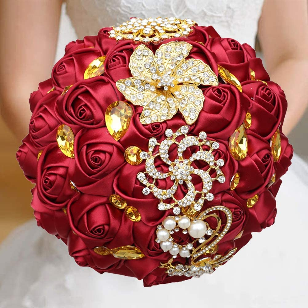 An Avant Garde Arrangement with Crystals and Pearls in Your Choice of Colors Metal and Silk Flower Wedding Bouquet