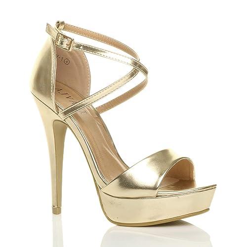 abae10f71334 Ajvani Womens Ladies Platform high Heel peep Toe Cross Over Strappy Sandals  Shoes Size