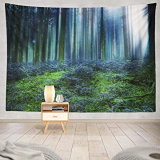 Lylana Forest Landscape Tapestry Wall Hanging,Tapestry Wall Art,Blue Magic Forest with Lights Funny Tapestry Wall Tapestry for Bedroom Living Room 50L x 60W inches,Blue Magic Forest