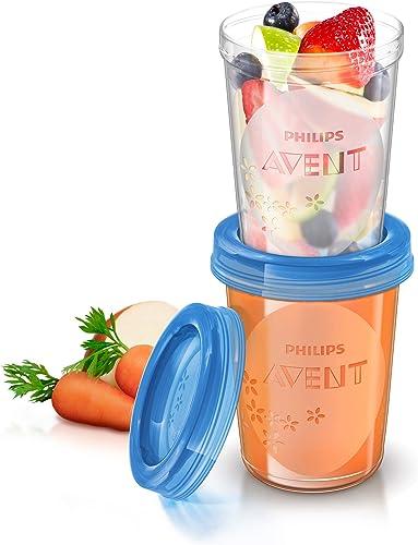 Philips Avent SCF639/05 Lot de 5 pots de conservation de 240 ml et leurs couvercles vissables