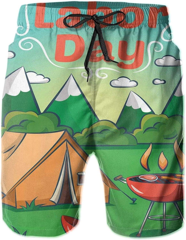 Cartoon Illustration of A Mountainous Landscape Barbecue Happy Camper Mens Swim Shorts Casual Workout Short Pants Drawstring Beach Shorts,XXL