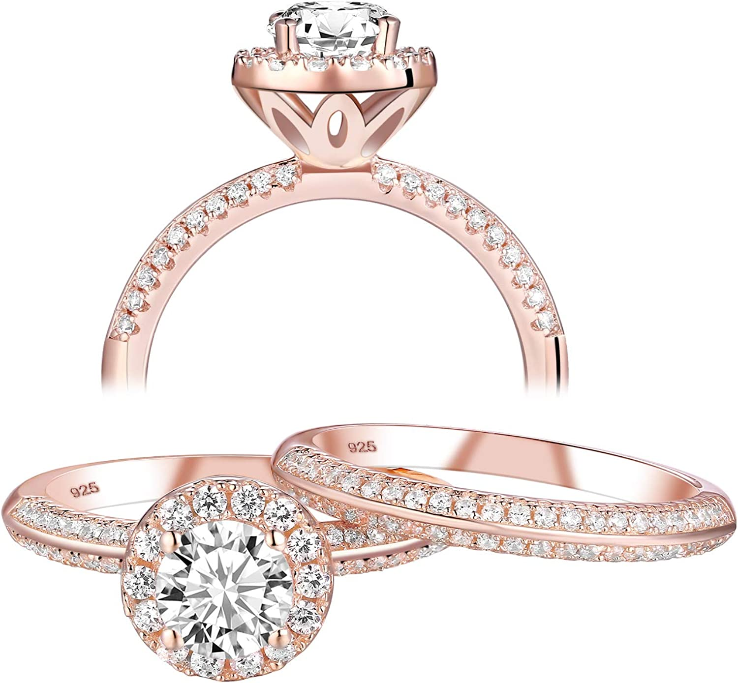 Newshe Rose Challenge the lowest price of Japan Gold Engagement Choice Wedding Ring Women 925 Sets Ster for