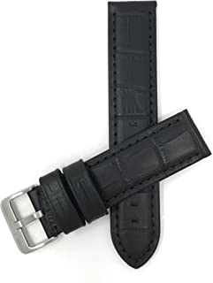 Bandini Mens Leather Watch Band Strap, Waterproof, Alligator Pattern, Stainless Steel Buckle, 7 Colors (22mm, 24mm)
