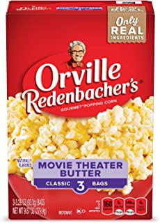 Orville Redenbacher's Movie Theater Butter Microwave Popcorn, (3 Count per bag of 3.29 Ounce each), 9.87 Ounce, Pack of 12