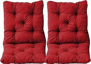 Ambientehome Lot de 2 Coussins Haut Dossier HANKO pour Fauteuil de Jardin, Coton, ca. 98 x 50 x 8 cm, Ton Rouge, 98x50x8 cm