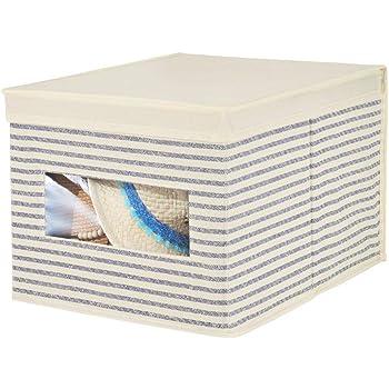 mDesign Caja con Tapa apilable para Armario, Dormitorio y más – Organizador de Armario de Fibra sintética Grande – Contenedor de Tela para Guardar Ropa con Tapa y Ventana – Crudo/Azul: Amazon.es:
