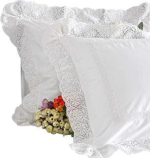 "SexyTown White Euro Pillow Sham Shabby Lace Euro Sham 26x26 Pillow Cover Vintage Euro Pillow Shams-1 Piece (Style 3, 26"" x 26"")"