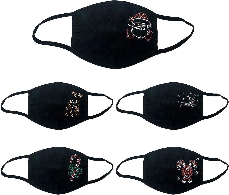 BEUU 5PCS Women Face Bandana Christmas Rhinestone Pattern Reusable Washable Breathable Dustproof Windproof Cloth Face Msak
