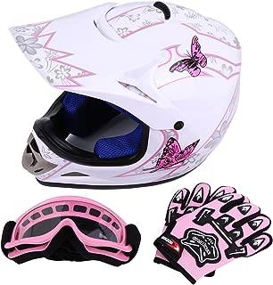 Sange DOT Youth Kids Offroad Helmet Motocross Helmet Dirt Bike ATV Motorcycle Helmet Gloves Goggles (White, Medium)