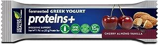 Genuine Heath Fermented Greek Yogurt Proteins+ Bar, Cherry Almond Vanilla, High Protein Bar, Low Carb, Low Sugar, Gluten Free, Digestive Support, 12 Count