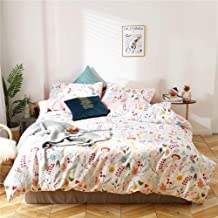 MICBRIDAL Botanical Floral Duvet Cover Queen Ultra-Soft 100% Cotton Floral Bedding Set for Girls Women Garden Floral Comfo...