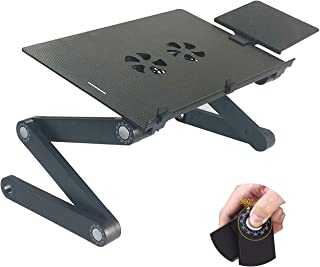 AOOU Cool Desk Laptop stand For Bed and Sofa, IPAD Stand Cozy Desk Portable Adjustable Laptop Table Stand Up/Sitting With 2 CPU Cooling Fans And Mouse Pad