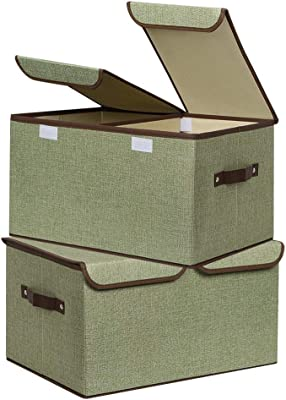 UUJOLY Large Storage Bins Linen Fabric Foldable Basket Cubes Organizer Storage Drawer with Lid and Handles for Home, Office, Closet, Bedroom, Nursery (Green-2pcs)