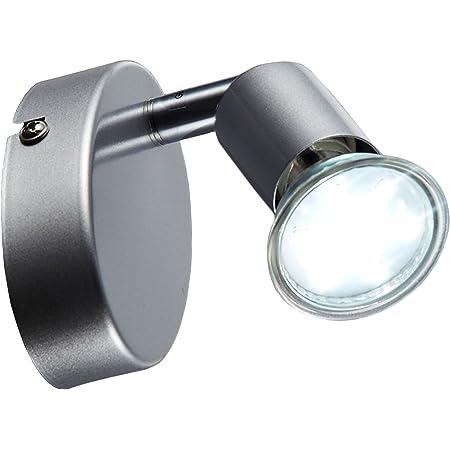 B.K.Licht plafonnier LED 1 spot orientable, applique murale LED salon, ampoule LED 3W GU10 incl, 250 Lm, lumière blanche chaude 3000K