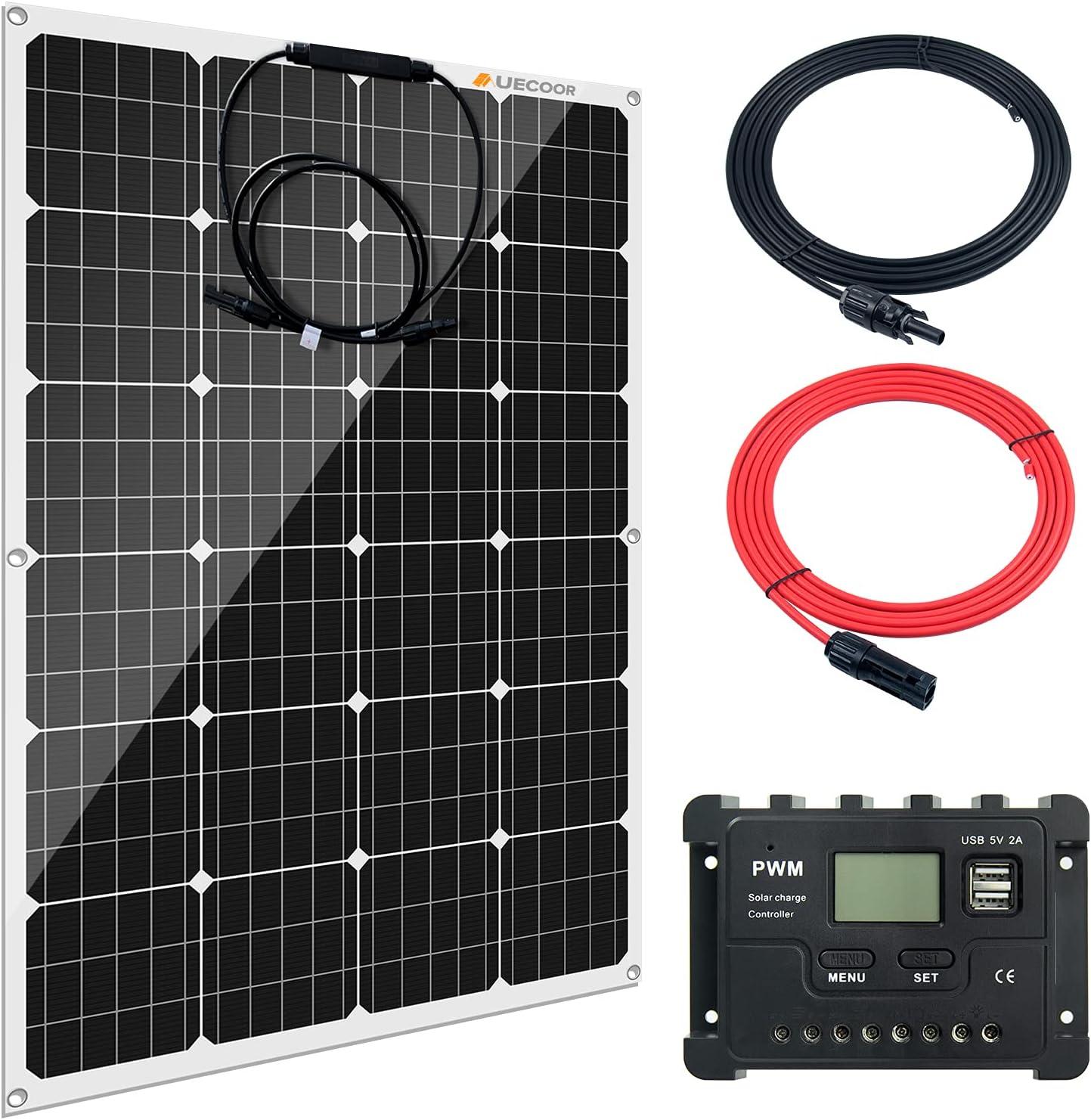 AUECOOR Dallas Mall 120 Watt 12 Volt Flexible Recommendation Panel Monocrystalline Solar Ki