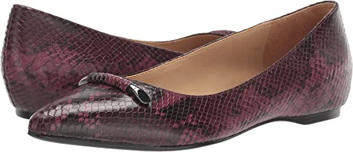 Burgundy Snake Print Leather