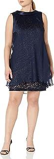S.L. Fashions Women's Plus Size Backward Satin Collar Lace Dress