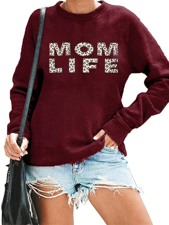 MYHALF Mama Sweatshirt Women Funny Mama Life Shirt Casual Long Sleeve Blouse Tops