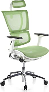hjh OFFICE 652812 silla ejecutiva ERGOHUMAN SLIM tejido de malla verde/armazón blanco silla ergonómica