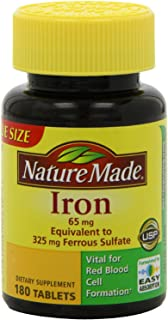 Nature Made Iron 65mg, 180 Tablets (Pack of 3)