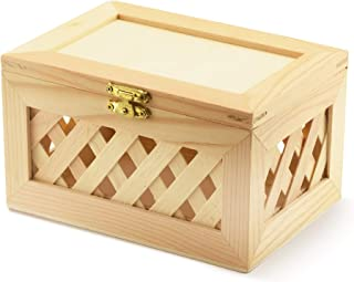 Unfinished Wood Box - Trinket Box - Wooden Jewelry Box, Nested, Beautiful Lattice Design, with Hinged Lid and Clasp (Large)