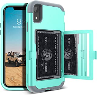 WeLoveCase iPhone XR Wallet Case Defender Wallet Design with Card Holder and Hidden Back Mirror Three Layer Heavy Duty Protection Shockproof All-Round Armor Protective Case for iPhone XR Mint Green
