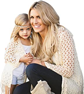 DATEWORK Mommy and Me Women Loose Hooded Cardigan Top Cover Up Blouse Family Clothes Set