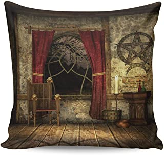 Throw Pillow Covers 20×20inch Soft and Skin Friendly Pillow Case Cushion Cover with Invisible Zipper-,Home Decor Pillowcase for Girls/Boys Room- Retro Witch Room Old Window Desk and Chair