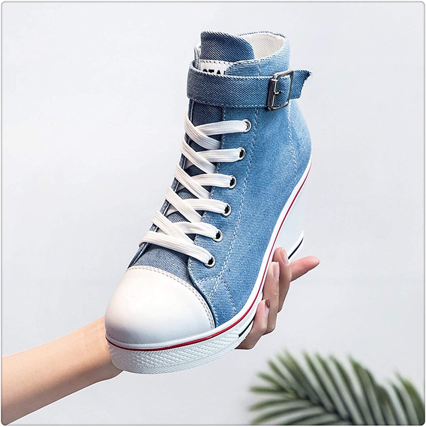 HAHUTG& Women Platform Wedge Sneakers Breathable Ladies Canvas shoes Hidden Heel Height Increase Casual shoes Woman Plus Size 41 42 43 6850 Sky bluee 8