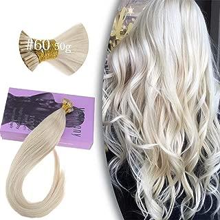 VeSunny 14inch #60 I Tip Platinum Blonde Hair Extensions Human Hair,Pre Bonded Keratin Stick Tipped Cold Fusion Hair Extensions Human Hair Straight Remy Human Hair 50G/Pack