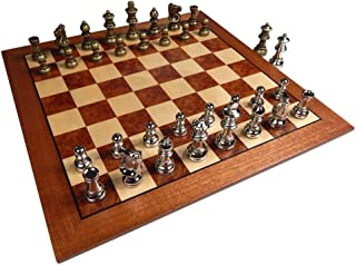 Hayes Inlaid Maple, Mahogany, and Sapele Wood Chess Board with Metal Pieces, 2.5 Inch King, and Extra Queens (Large 15 x 15 Inch Set)