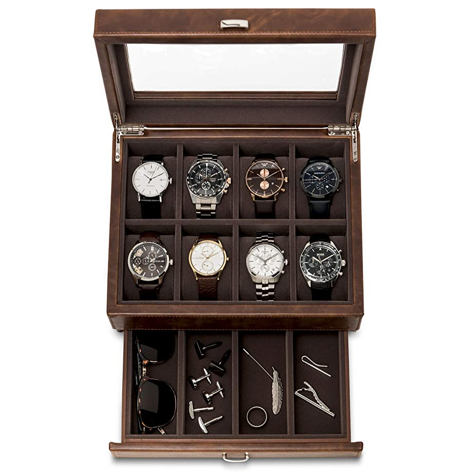TAWBURY Leather Watch Box for Men | 12 Slot Watch Case with Valet | Mens Watch Storage with Large Watch Holders and Jewelry Organizer | Men's Watch Display Stand for Dresser