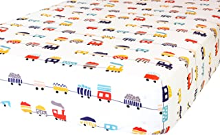 ADDISON BELLE 100% Organic Cotton Fitted Crib Sheet - Premium Baby Bedding - Soft, Breathable & Durable - Trains Print