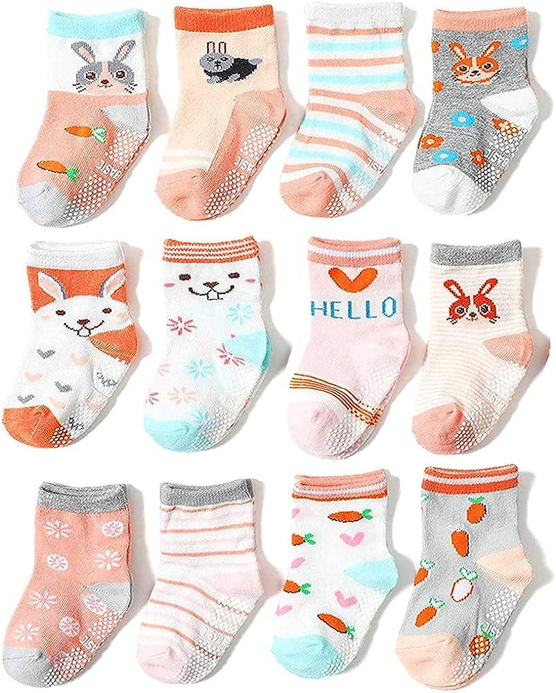 Little Boys Girls Non Skid Anti Slip Crew Socks 12 Pair Toddler Kids Fashion Cotton Dress Socks