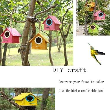 Wooden Bird House, Hanging Birdhouse for Outside, Garden Patio Decorative Nest Box Bird House for Wren Swallow Sparrow Hummin