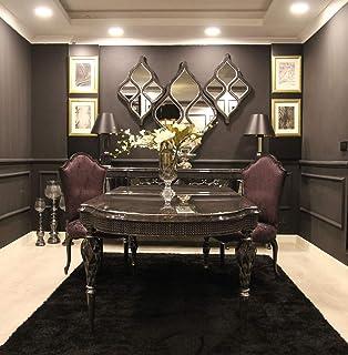Casa Padrino Conjunto de Comedor Barroco de Lujo púrpura/Gris/Negro/Plata - 1 Mesa de Comedor y 6 Sillas de Comedor - Muebles de Comedor en Estilo Barroco - Muebles barrocos Nobles
