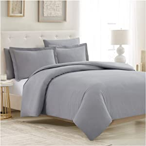Mellanni Duvet Cover Queen Set 5pcs - Soft Bedding with 2 Shams and 2 Pillowcases - Button Closure and Corner Ties - Wrinkle, Fade, Stain Resistant (Queen, Light Gray)