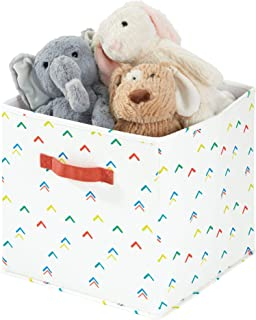 iDesign Arrow Fabric Storage Cube Bin, Medium Basket Container with Dual Side Handles for Closet, Bedroom, Toys, Nursery - Multicolored
