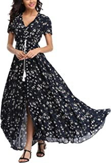 Women's Floral Maxi Dress Button Up Split Summer Boho Long Beach Dress