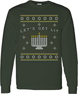 UGP Campus Apparel Let's Get Lit Menorah Hanukkah - Funny, Holiday, Ugly Sweater Long Sleeve T Shirt