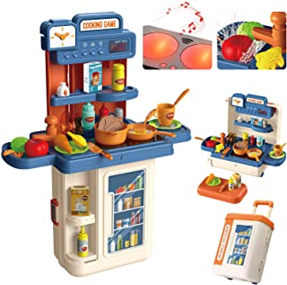 GRESAHOM Kitchen Playset for Kids,4 in 1 Kitchen & Grill Role Pretend Play Toys Travel Suitcase with 41pcs Realistic Cooki...