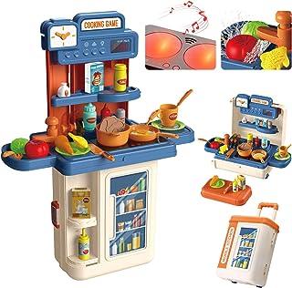 Jouet de cuisine pour enfants, 4 en 1 Mobile Role Pretend Cooking Toys 41pcs, eau, lumière et son, valise déformable avec ...