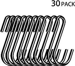 30-Pack Black S Shaped Hooks Heavy-Duty Kitchen Hooks Steel Pan Pot Rack Hooks Hangers Shelf Hooks for Hanging Spoons Pans Pots Cups Cookware Plants Bags